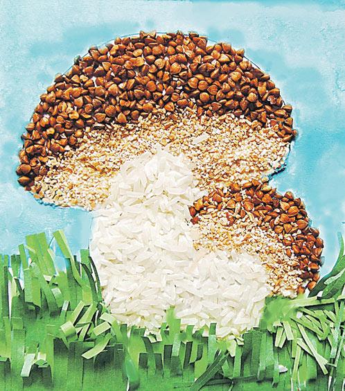 4. Розмалюй аркуш паперу навколо грибів, приклей травичку з нарізаною зеленою паперу